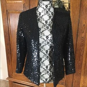 Vintage Ethel Allen Black Sequin Jacket Blazer